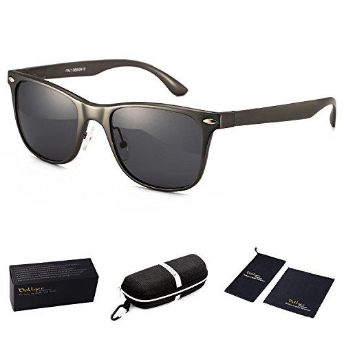 Dollger Polarized Wayfarer Sunglasses Clubmaster Horn Rimmed Metal Frame Eyewear(Black Lens+Gun - Brazil Sunglasses