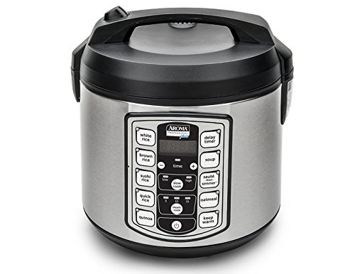 Aroma Housewares Professional Plus ARC-5000SB 20 Cup (Cooked) Digital Rice Cooker, Food Steamer, Slow Cooker, Stainless Exterior/Nonstick Pot (Best Rice Cooker Brand)