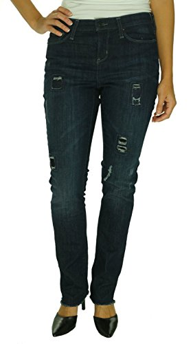 DKNY Jeans Womens Soho Denim Ripped Patchwork Skinny Jeans Blue 8 (Dkny Mid Rise Jeans)