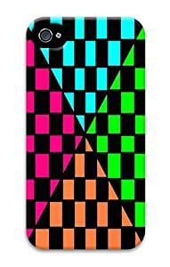 IMARTCASE iPhone 4S Case, Checks Blue Pink Green Checkerboard PC Hard Plastic Case for Apple iPhone 4S and iPhone 4