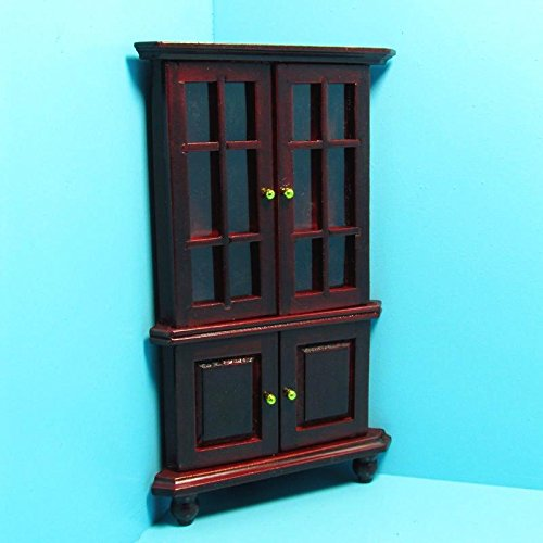 Dollhouse Miniature Corner Hutch/Cabinet in Mahogany T - My Mini Fairy Garden Dollhouse Accessories for Outdoor or House - Hand Hutch Painted