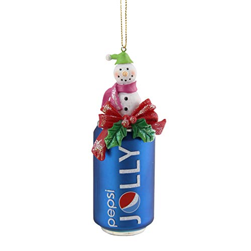 Northlight Jolly Pepsi Can with Snowman Topper Decorative Glass Christmas Ornament, 4.75