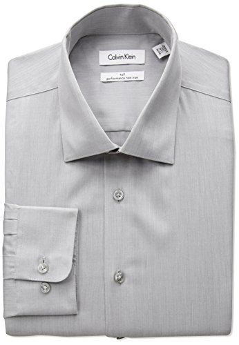 Calvin Klein Men's Non Iron Big and Tall Herringbone Spread Collar Dress Shirt, Smoke, 19