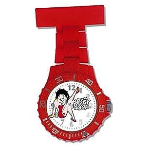 Reloj Betty Boop Dial Blanco Pulsera Roja para Enfermeras