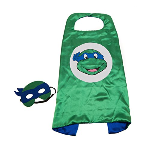 Kids Capes Superhero and Princess Cape and Mask Sets, Great for Dressing Up with Costumes & Playing (Ninja Turtles - Blue - (Blue Ninja Turtle Costume)