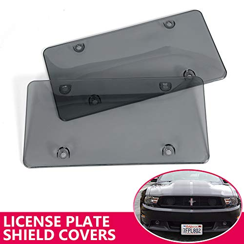 VRracing New Tinted License Plate Cover Shield - 2-Pack Unbreakable Premium Quality Novelty/License Plate Clear Smoked and Black Car Bubble Shield ()