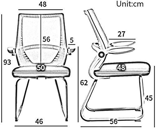 DBL andningsbar stålbas ergonomisk skrivbord räcke bågformad möte nät tredimensionellt material bekväm upplevelse skrivbordsstolar (färg: Svart, storlek: Svart ram)