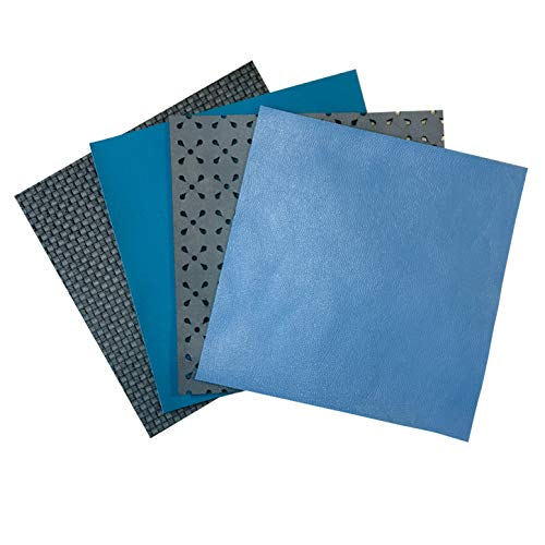 (Perforated Sheepskin Leather for Jewelry: 4 Gray-Blue Lambskin Hide Sheets for Crafts 5x5In/ 12x12cm)