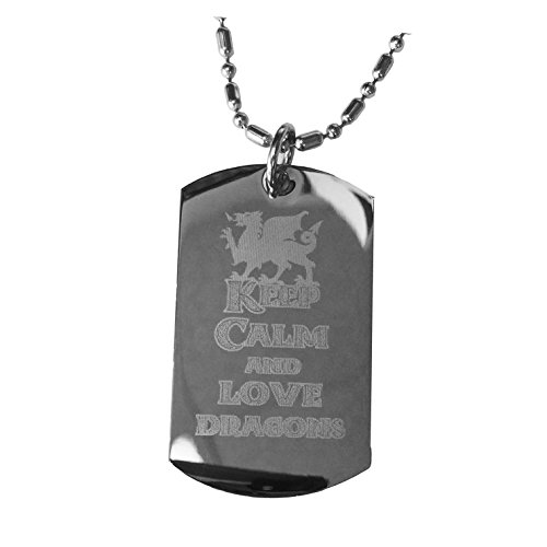 Hat Shark Keep Calm and Love Dragons - Luggage Metal Chain Necklace Military Dog Tag