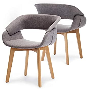 Amazon.com: Mid-Century - Juego de 2 sillas de reposabrazos ...