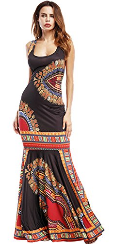 Baroque Print Dress (Arctic Cubic Sleeveless Baroque Ethnic Tribal African Ruffled Ruffle Hem Long Maxi Bodycon Fishtail Mermaid Dress Black S)