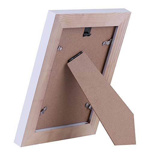Muamax 5 X 7 Whitewashed Rustic Wood Picture Frame Off White