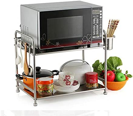 レンジ台 2段多機能キッチン収納オーガナイザーデスクトップスタンドステンレススチール電子レンジラック (Color : Silver, Size : 57X37X48CM)
