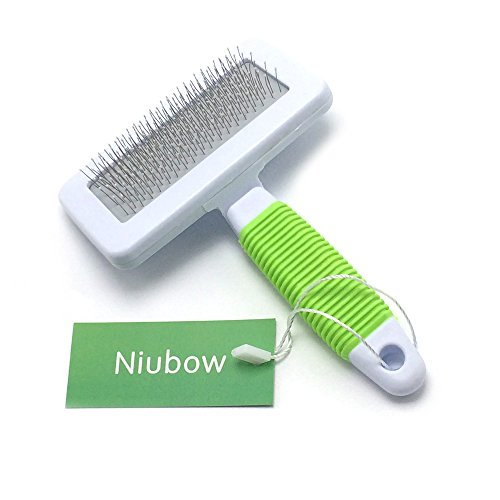 Niubow Professional Quality Pet Slicker Brush with Coated Pin Tips for Dogs & Cats - Gently Removes Mats & Loose Dead Hair Easily (Small, Green)