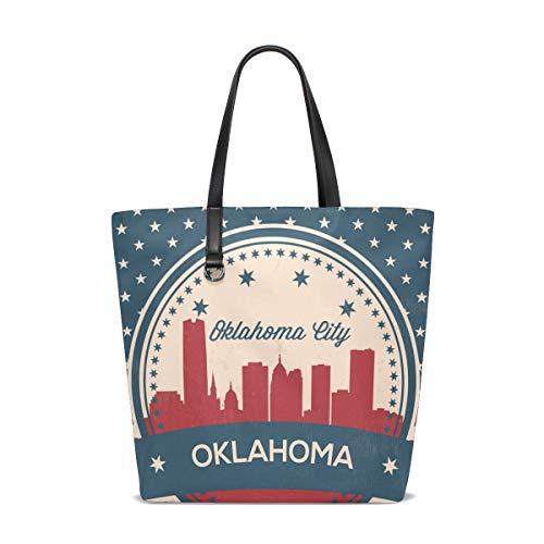 Oklahoma City Retro Skyline Fashion Casual Tote Bag Shoulder Handbag for Women Girls