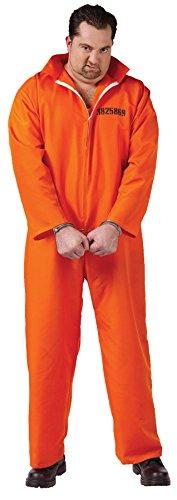 Men's Got Busted Prisoner Outfit Fancy Dress Halloween Plus Size Costume, Plus