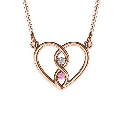 - 10K Rose Gold Entwined Infinity Heart Necklace with Personalized Birthstones by JEWLR