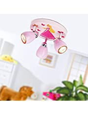 Princess LED plafondlamp, Ø 31 cm, 3x 2,5W GU10 LED incl. 3x 220 lumen, 3000K warm wit, metaal, roze