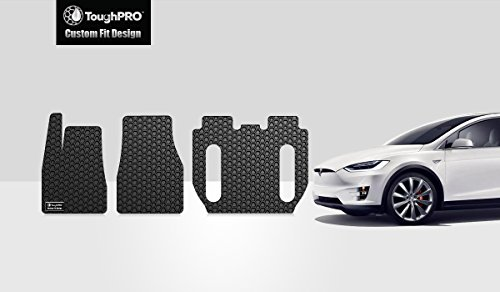 ToughPRO Floor Mats Set 1st + 2nd + 3rd Row Compatible with Tesla Model X (6 Seater Without 2nd Row Seat Middle Console) - All Weather - Heavy Duty - (Made in USA) - Black Rubber - 2017, 2018, 2019 (Best Selling 3 Row Suv)