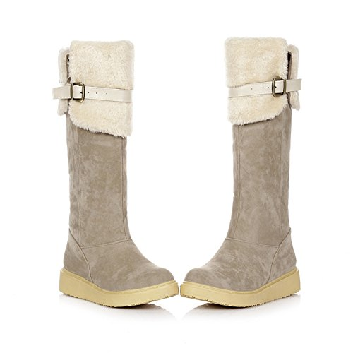 Suede Warm Heel Rounded On Velvet Lining Overknee Faux apricot Low Slip with Toe Snow Platform Women's Boot q5AwOzxBn