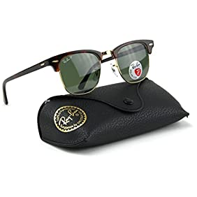 Ray-Ban RB3016 990/58 Clubmaster Red Havana / Crystal Green Polarized Lens 49mm