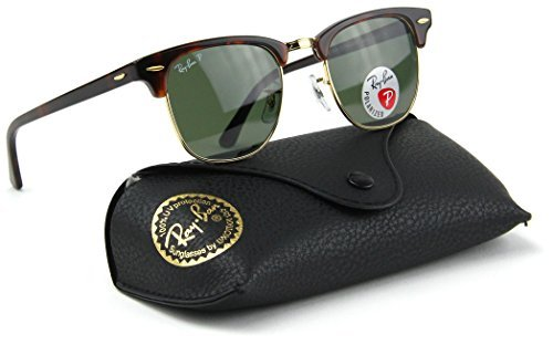 Ray-Ban RB3016 990/58 Clubmaster Red Havana / Crystal Green Polarized Lens - Rb3016 Ban Ray Clubmaster