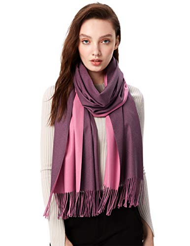 (MaaMgci Womens Mens Two Tone Scarf Cashmere Feel Pashmina Shawls Wraps Blanket Scarf Winter Stole, Violet and Purple)
