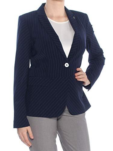 (Tommy Hilfiger Womens Pinstripe Office Wear Peplum Jacket Navy)