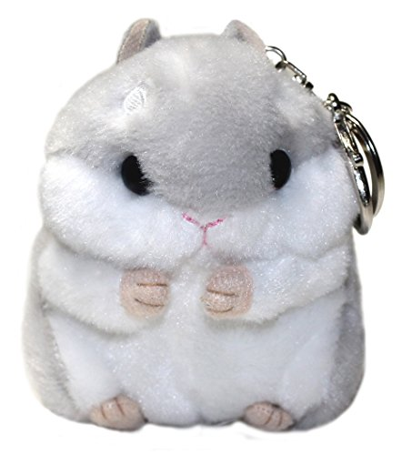 (Lucore Happy Hamster Plush Stuffed Animal Keychain - Hanging Toy Doll, Lucky Charm & Ornament (Gray))