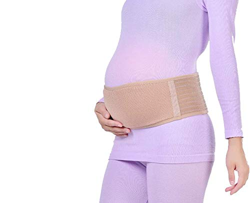 (Megellan Pregnancy Belt, Maternity Belt, Breathable Abdominal Binder, Breathable Pelvic and Back Support, Belly Support Band, One Size, Beige)