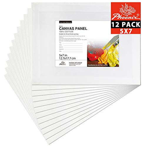 (PHOENIX Painting Canvas Panel Boards - 5x7 Inch / 12 Pack - 1/7 Inch Deep Super Value Pack for Professional Artists, Students & Kids)