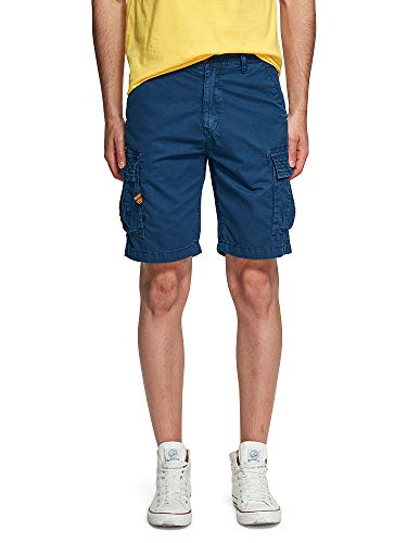 OCHENTA Men's Lightweight Multi Pocket Casual Cargo Shorts Solid Blue US 3- Tag 33 ()
