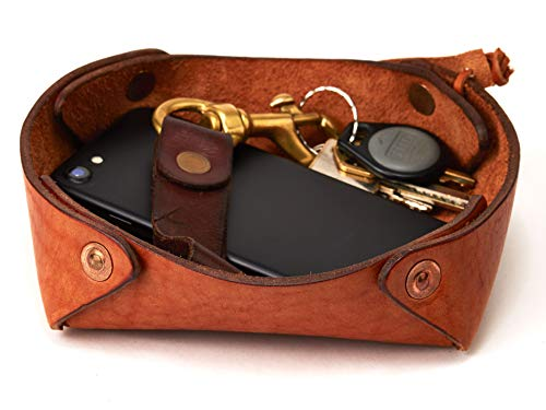 Alta Andina Leather Valet Tray/Catchall | Full Grain, Vegetable Tanned Leather (Brown - Miel)