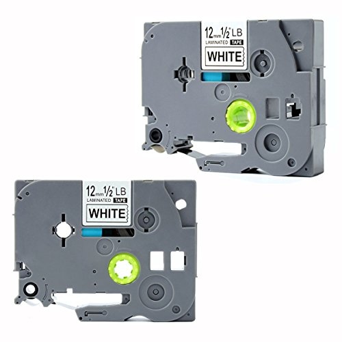 "TZe-231 Label Tape, LaBold 2 Pack Black on White Standard Laminated Labeling Tape 1/2"" X 26.2'(12mm x 8m) Compatible for Brother P-touch TZ TZe 231 TZ-231 --BUY FROM FACTORY STORE: Label Tape World"
