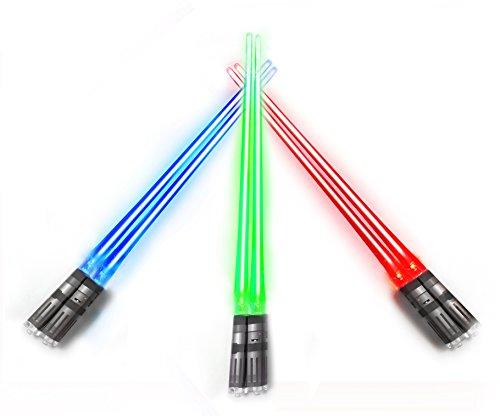 Chop Sabers Light Up LightSaber Chopsticks (3 Pairs, Red, Blue, Green)