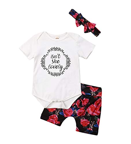 - Isnt She Lovely 0-18M Infant Newborn Baby Girl Short Sleeve Cotton Bodysuit Tops Floral Pant Headband (6-12 Months, Style 6)