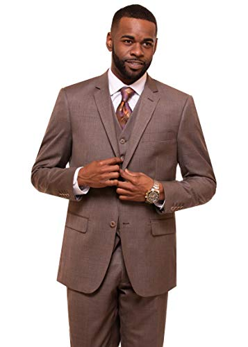 - DANNY COLBY Men's 2 Button Vested Suit. (Taupe), Modern FIT 3 PC