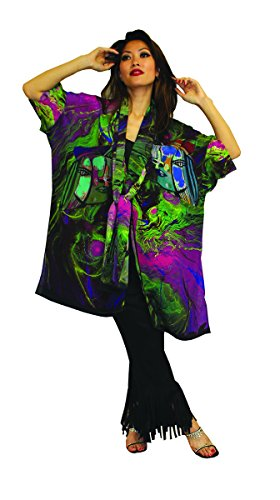 Picasso Inspired Hand Painted Art Wear Silk Jacket & Scarf OS Oversized (Hand Painted Silk Jackets)