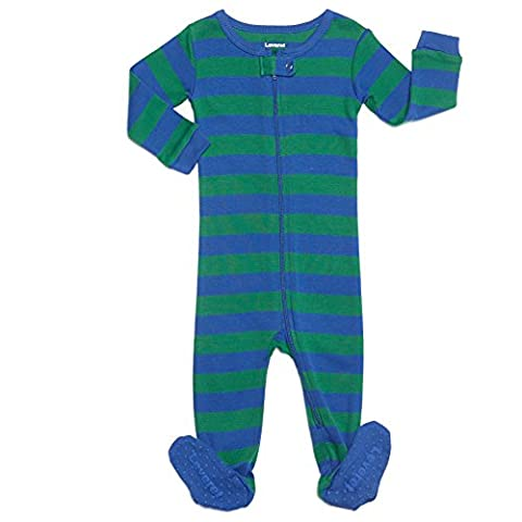 Striped Footed 100% Cotton (12-18 Months, Blue & Green) - Baby Boy Pajamas