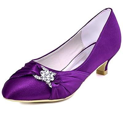 ElegantPark Women Closed Toe Comfort Heel Rhinestone Satin Wedding Bridal Shoes