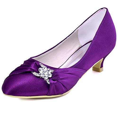 ElegantPark EP2006L Women Comfort Low Heel Closed Toe Rhinestone Satin Bridal Wedding Shoes Purple US 7.5