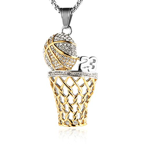 Yellow Gold Kids Ring - HZMAN Mens 18k Gold Silver Plated Basketball Rim CZ Inlay Pendant Hip Hop 22+2 Inches Chain (Gold & Silver - 23)