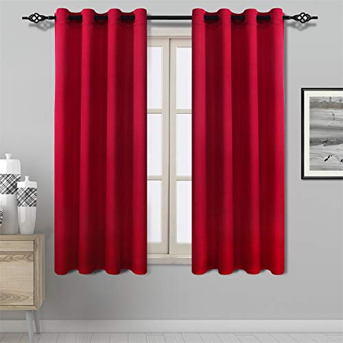 DWCN Red Curtains Bright Faux Silk Country Modern Style Draperies 8 Grommets Window Curtain Panel 52x63 inch (Set of 2 Panels) for Kitchen/Dinning Room/Living Room