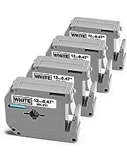 4 Pack Replace Brother P-Touch M-K231 M-K231s M231 MK231 12mm 0.47 Inch M Tape Work with Brother Ptouch PT-65 PT-M95 PT-90 PT70 PT85 Label Maker, 1/2'' x 26.2', Black on White