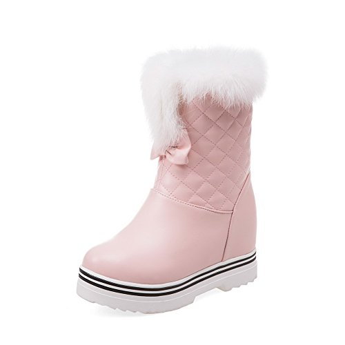 AllhqFashion Women's Soft Material Round Closed Toe Solid Low-top High-Heels Boots with Bows, Pink, - Overnight Free Stores Shipping With