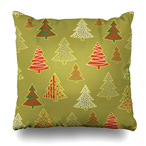 Homeyard Throw Pillow Cover Winter Evergreen Christmas Forest Holidays Pattern Holiday Tree Xmas Celebration Cristmass Design Home Decor Sofa Cushion Square Size 18 x 18 Inches Zippered Pillowcase