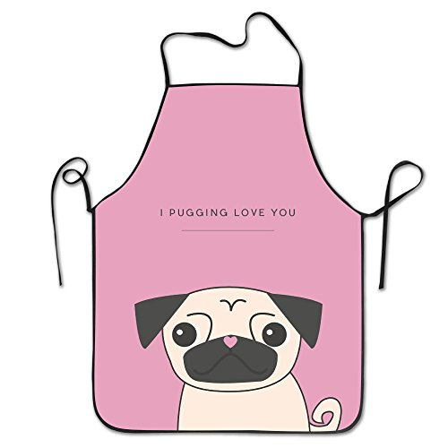 - Valentines Pug Neck Bib Apron For Women And Men - Adjustable Neck Strap - Restaurant Home Kitchen Apron Bib For Cooking, Grill And Baking, Crafting, Gardening, BBQ