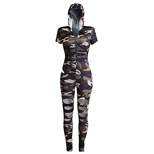 Momsbabe Women's Sexy Short Sleeve High Waist Body-Con Pants Jumpsuits Rompers Ladies Outfits Camouflage Army (Army Outfits For Womens)