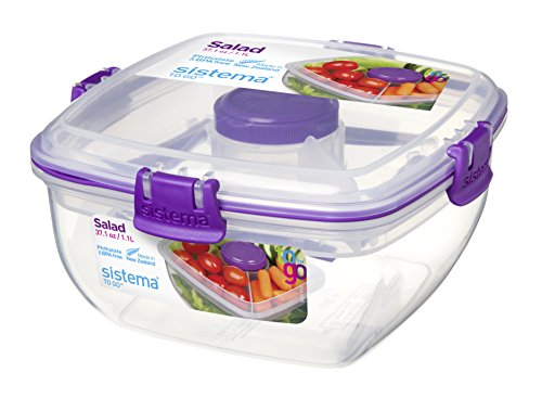 Sistema To Go Collection Salad to Go Food Storage Container, 37 Ounce/ 4.6 Cup, Clear with Assorted Color Accents (Salad Bin)