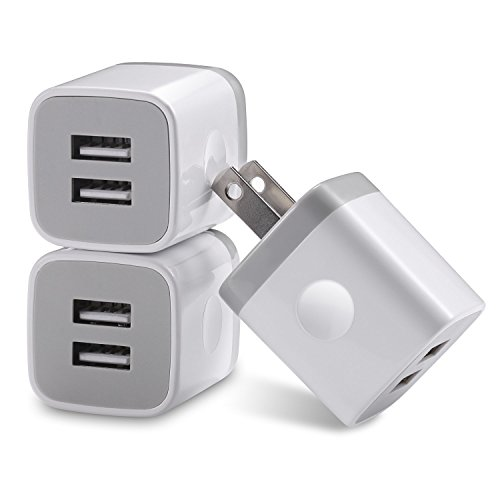Wall Charger, 3-Pack 2.1A/5V Universal Dual USB AC Wall Travel Power Charger Adapter for iPhone 8 / 8 + 7 / 7 Plus 6 5S 5 4S Samsung S5 S4 S3, Note 5, HTC, LG and More Device (3-Pack 2 Port Dual) by D & K Exclusives